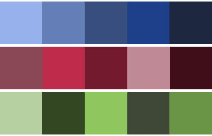 Przykłady monochromatycznych palet.