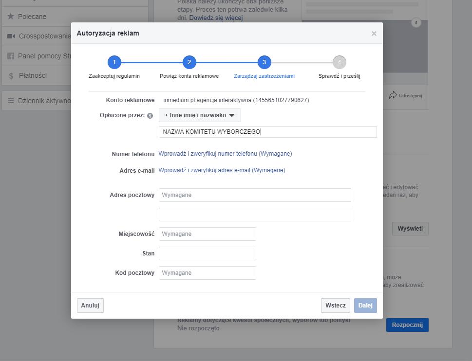 Dodawanie zastrzeżenia do reklamy na Facebooku