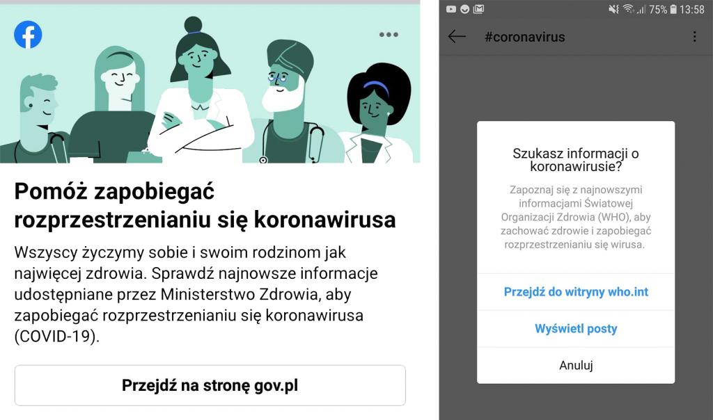 FB i Instagram a fake newsy o koronawirusie