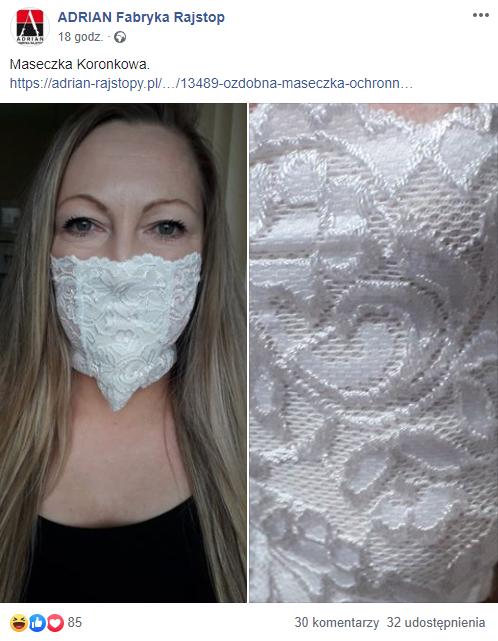 Rajstopy Adrian - maseczka koronkowa a koronawirus