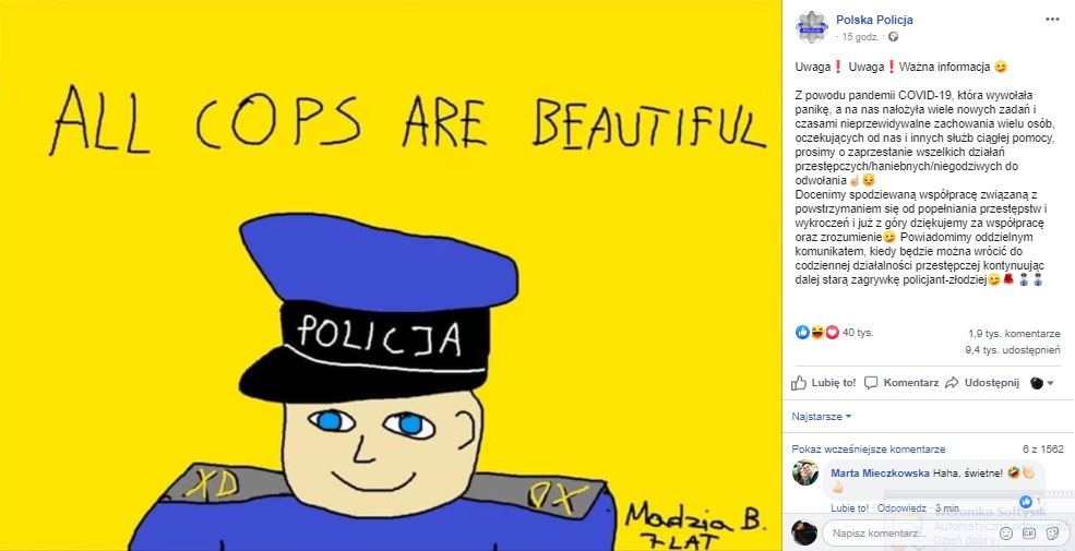 Polska policja a koronawirus - apel na FB