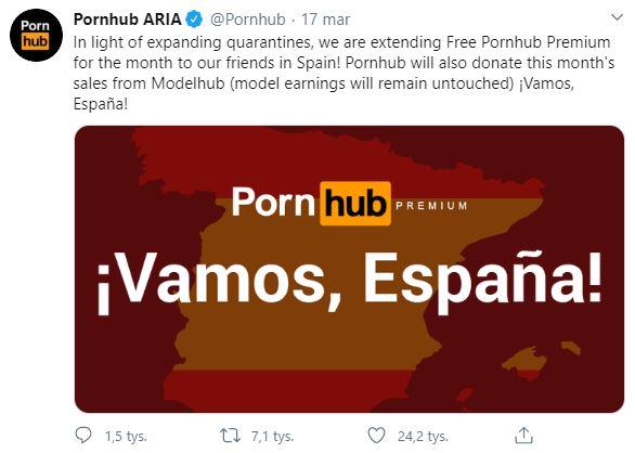 Pornhub - komunikat na Twitterze - konto premium