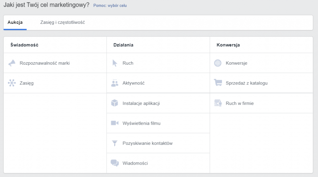Menedżer Reklam na Facebooku - cel marketingowy