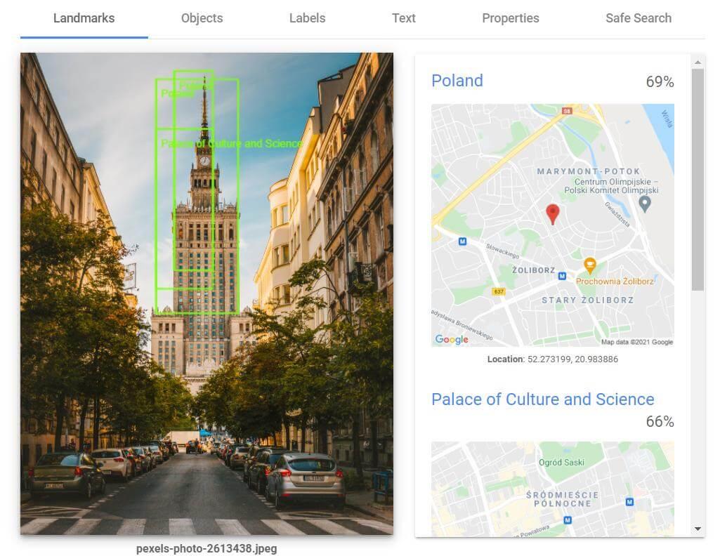 Działanie Google Vision API