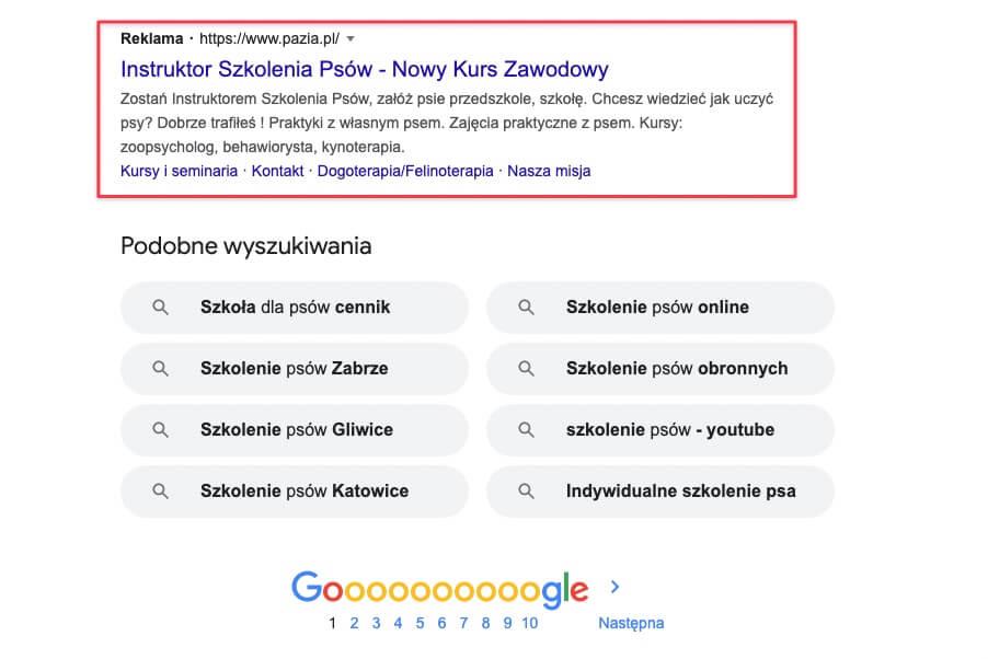 Reklamy pod organicznymi wynikami w Google