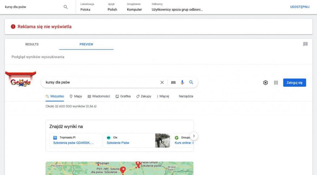 Narzędzie Google AdPreview do sprawdzania działania reklam Google Ads